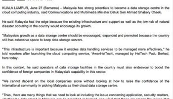 MALAYSIA HAS POTENTIALS TO BE DATA STORAGE CENTRE IN CLOUD COMPUTING